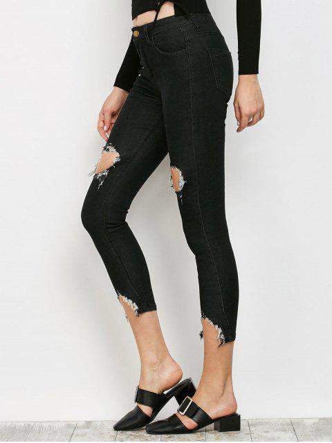 outfits Zip Fly Ripped Narrow Feet Jeans - BLACK S Mobile