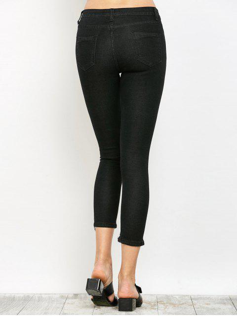 new Zip Fly Ripped Narrow Feet Jeans - BLACK XL Mobile