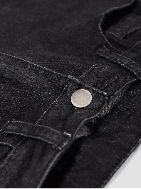 jean déchirés à jambes  étroites avec des poches - Noir S Mobile