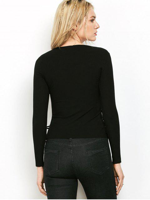 online Grommet Lace Up Ribbed Jumper - BLACK M Mobile