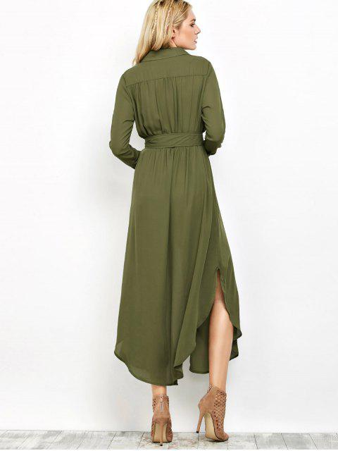 womens Chiffon Lapel Collar Longline Blouse - GREEN M Mobile