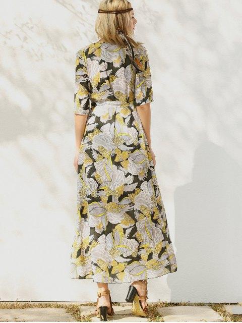 sale Print Slit Maxi Dress - YELLOW M Mobile