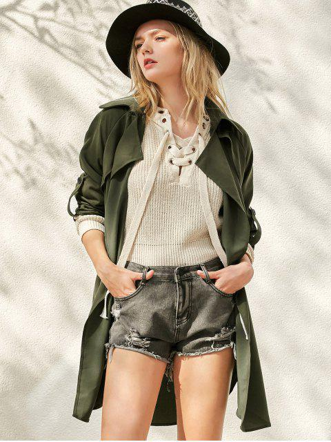 latest Buttoned Waterfall Trench Coat -   Mobile