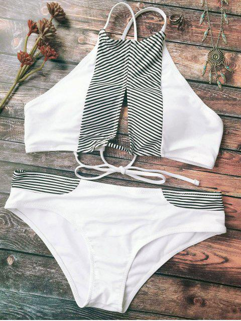 lady Stripe High Neck Cutout Bikini - WHITE M Mobile
