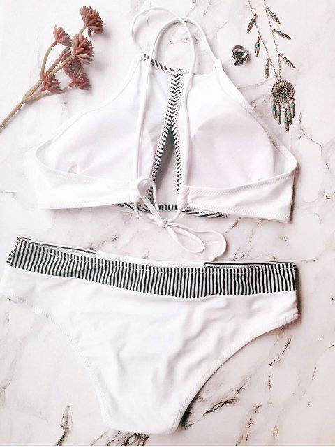 lady Stripe High Neck Cutout Bikini - WHITE M Mobile