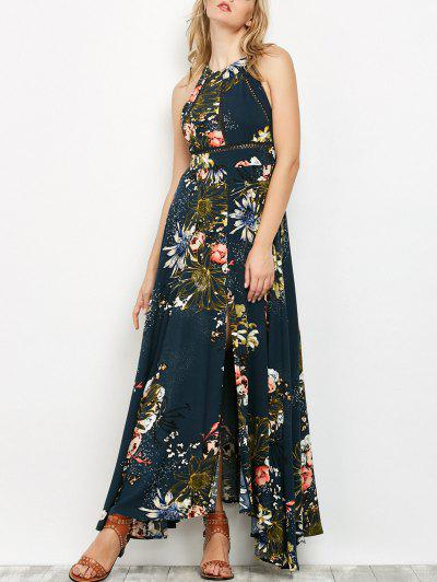 Crochet Insert Floral Print Maxi Dress - Peacock Blue S