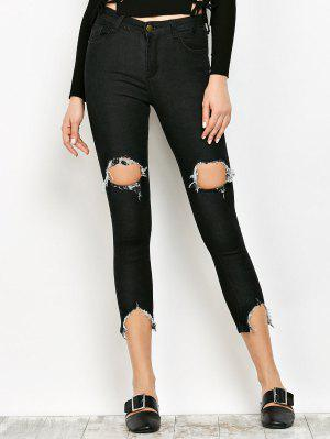 Zip Fly Ripped Narrow Feet Jeans - Black S