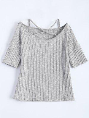 Criss-Cross Acanalado Camiseta - Gris Claro 2xl