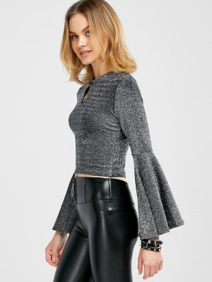 Sparkly And Glitter Bell Sleeve Keyhole Top - Silver M