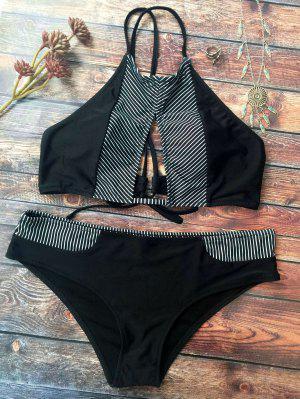 Bikini à Col Haut Découpé à Petites Rayures En Block De Couleurs - Noir Xl