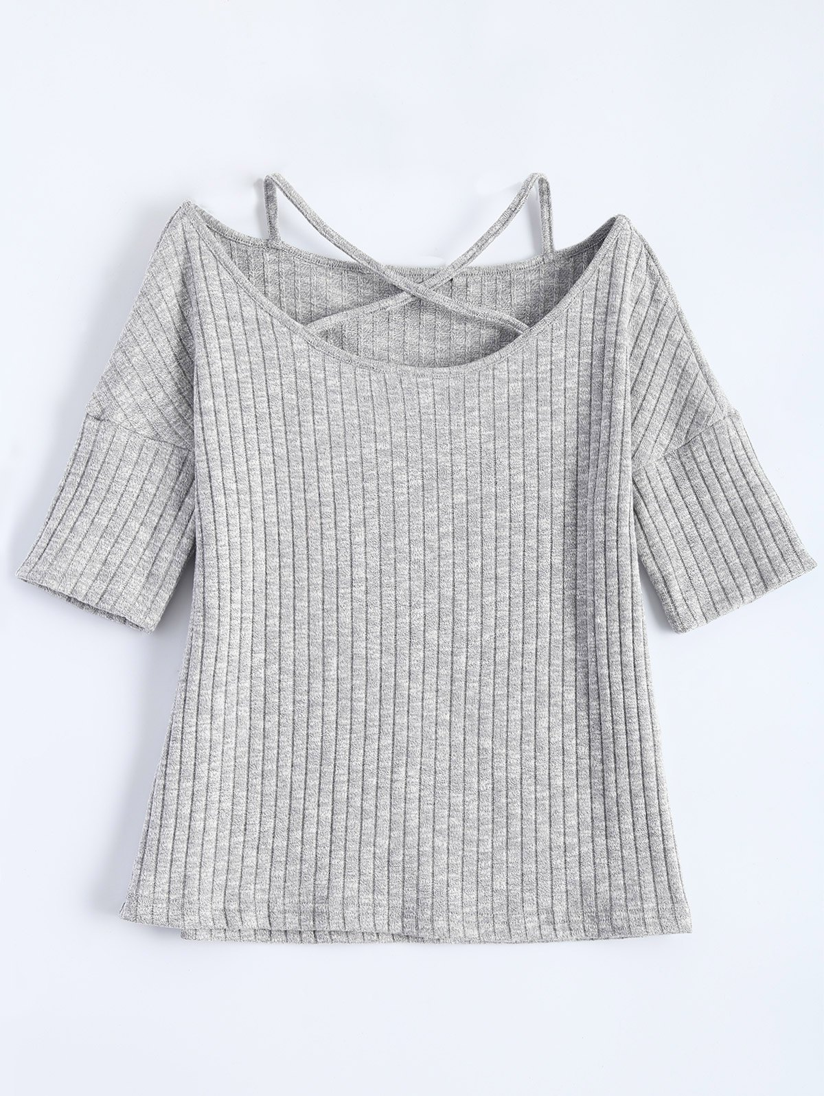 Criss Cross Ribbed T Shirt 206920803