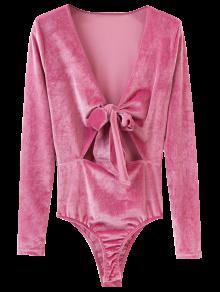Front Knot Low Cut Velvet Bodysuit - Deep Pink S