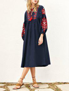فستان مطرز فانوس الأكمام ميدي سموكيد - الأرجواني الأزرق L