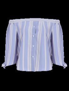 Off The Shoulder Bowknot Stripe Blouse - Bleu Clair M