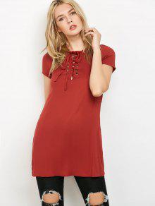 Lace-Up V Neck Dress - Rouille S