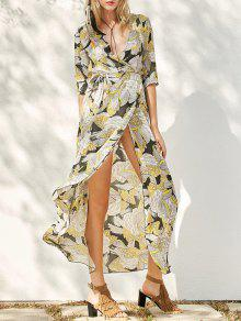 Print Slit Maxi Dress - Yellow M