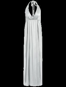 Strappy Sateen Maxi Abendkleid - Weiß S