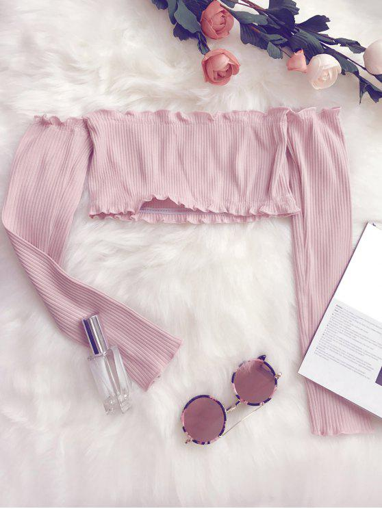 online Frilled Off The Shoulder Crop Top - PINK ONE SIZE