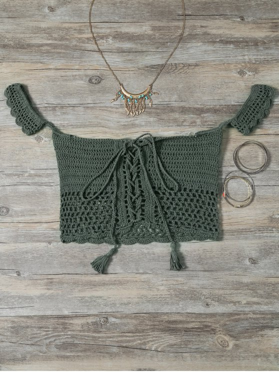 Knitted Off The Shoulder Bikini Bra - Green One Size