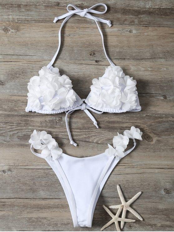 Stereo Flower Bikini Swimwear - White S