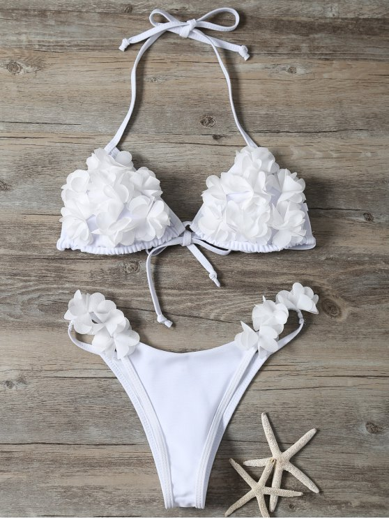 outfit Stereo Flower Bikini Swimwear - WHITE S