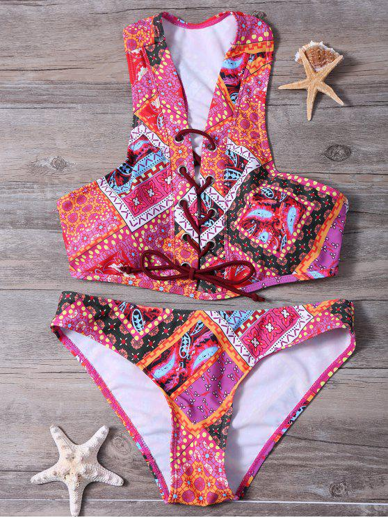 chic Lace Up Tribal Print Bikini Set - COLORMIX L