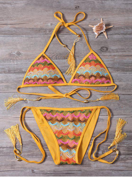 women's Strappy Tassel Crochet Panel Bikini Set - GINGER L