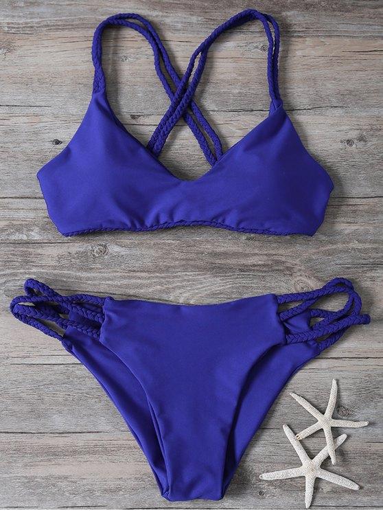 sale Crisscross Braided Strap Thong Bikini - BLUE L