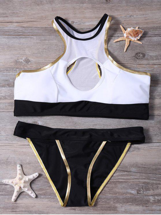 latest Piped Front Circle Banded Bikini Set - BLACK M