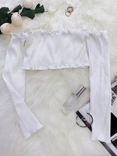 Frilled Off The Shoulder Crop Top - White