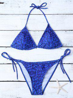 Fish Scale Print String Bikini - Royal Blue S