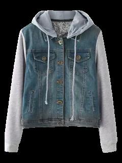 Buttoned Hooded Denim Spliced Jacket - Blue M