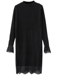 Lace Panel Cut Out Knitting Dress - Black