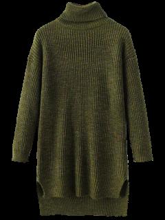 Side Slit Turtleneck Heather Sweater - Army Green