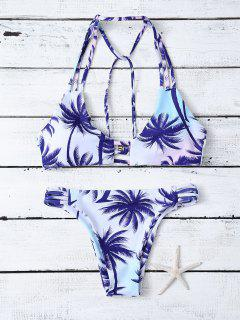 Strappy Palm Tree Print Bikini - Blue And White S