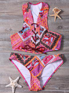 Lace Up Tribal Print Bikini Set - M