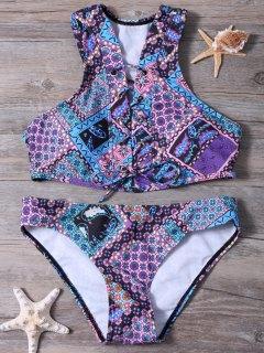 Printed Lace Up Schulterfrei Bikini-Set - Lila S
