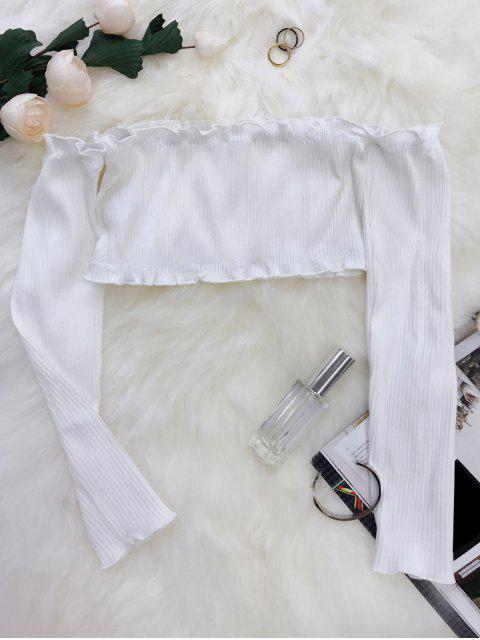 Crop Top à Épaules Dénudées Volantées - Blanc Taille Unique Mobile