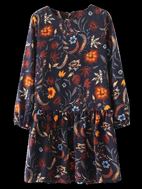 new Floral Long Sleeve Drop Waist Dress - PURPLISH BLUE L Mobile