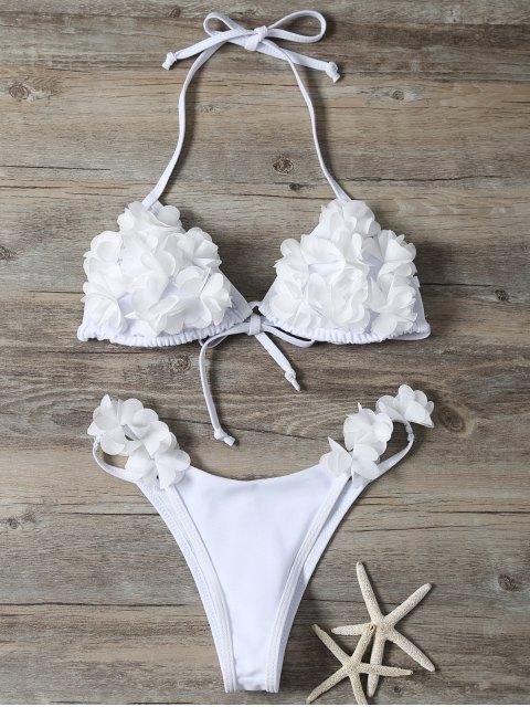 hot Stereo Flower Bikini Swimwear - WHITE M Mobile