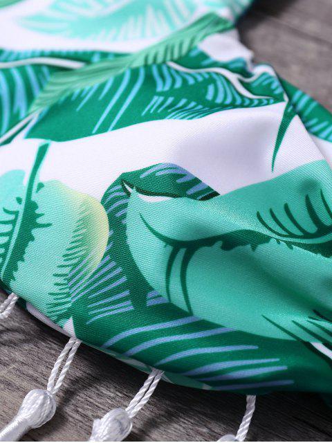trendy Halter Palm Leaf Tasselled Bikini - GREEN S Mobile