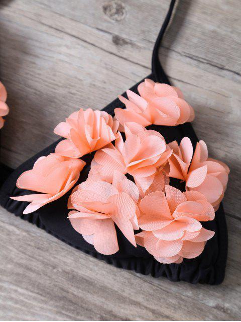 buy Halter Stereo Flower Bikini Cute Bathing Suit - BLACK S Mobile