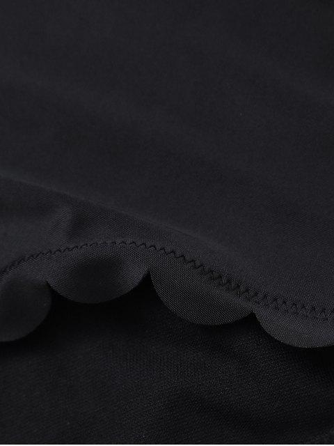 lady Plunge Neck Scalloped High Waisted Bikini - BLACK M Mobile