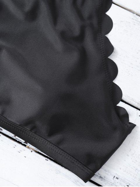 new High Neck Scalloped Bikini - BLACK M Mobile