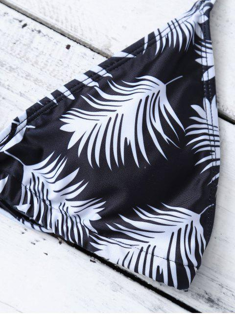 outfits Feather Print String Bikini - WHITE AND BLACK M Mobile
