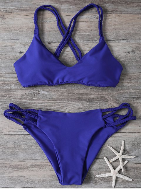 buy Crisscross Braided Strap Thong Bikini - BLUE S Mobile