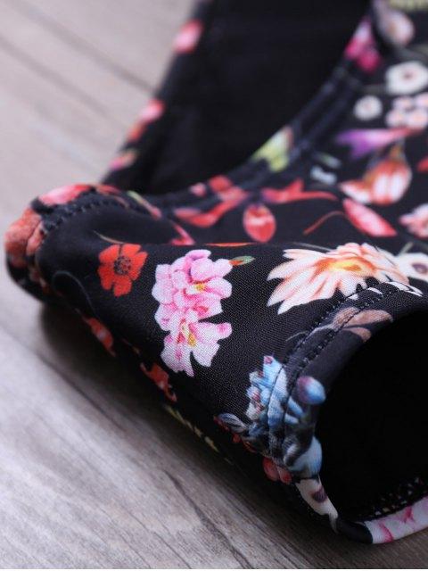 shop Floral Halter Cut Out Wrap Bikini Set - BLACK M Mobile