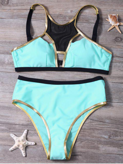 unique Piped Hollow Out Bikini Set - PINKISH BLUE L Mobile