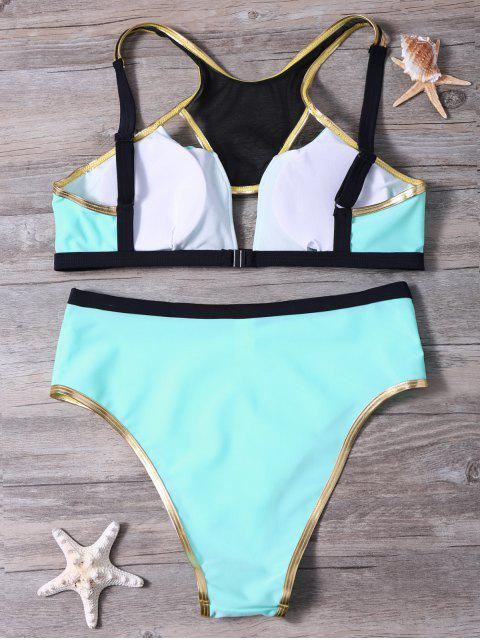 affordable Piped Hollow Out Bikini Set - PINKISH BLUE S Mobile
