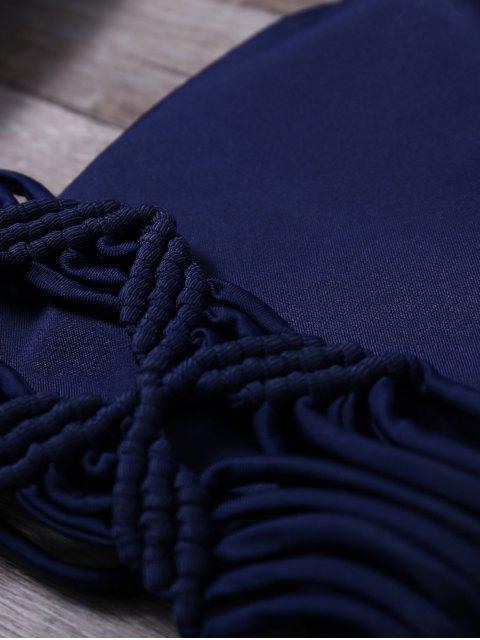 women Strappy Low Cut Halter Braid Bikini Set - PURPLISH BLUE M Mobile